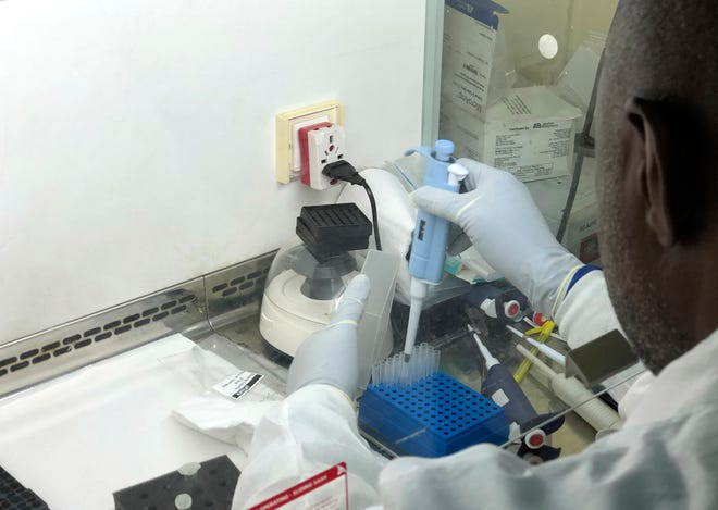A virologist works in his laboratory doing genetic sequencing to learn more about a COVID-19 variant in Nigeria.