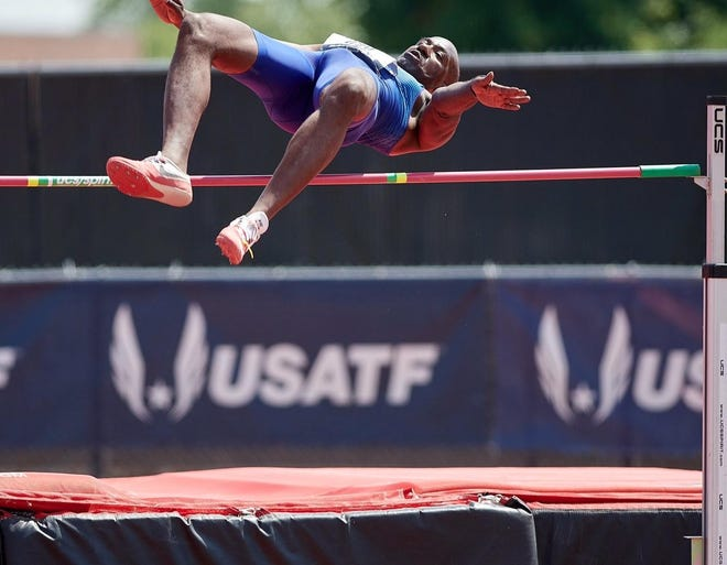 R. Kenneth ONeal competes in the high jump, one of many events where he's claimed national masters titles. [Courtesy photo/R. Kenneth ONeal]