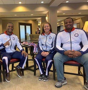 Three members of the USA Martial Arts team and Tuscaloosa's Strictly Business, West Alabama Martial Arts Academy, won world championships at the world games in London in October 2019, including, from left, Justin Nalls, Sierra Williams and Josh Edwards.