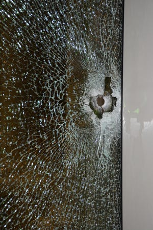 A bullet was shot through glass at 715 Polaris Parkway on Feb. 2, according to the Westerville Division of Police.