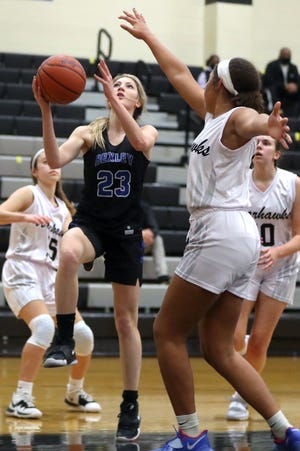 Bexley's Grace Heilman drives past Westerville Central's Avery Vukmanic earlier this season. Heilman was averaging 7.1 points and a team-high 3.0 steals through 15 games for the Lions, who are seeded third for the Division II district tournament and will play Feb. 19 as host to eighth-seeded Jonathan Alder.