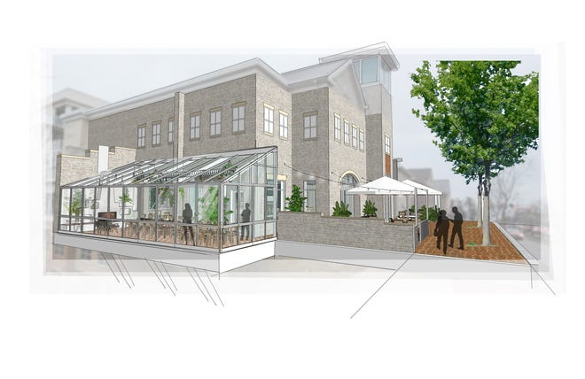 This Illustration shows the greenhouse-style patio planned at the Getaway, a bar at 104 N. High St.in the northern-most portion of Dublin's Bridge Park West that the Getaway Brewing Co. is expected to open this spring.