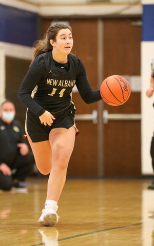 """Olivia Gittins' ability to play any position has been a big help to New Albany and coach Phil Sikorski. """"It's nice as a coach to know I can put her wherever we need her (and) she'll do the job and get it done, """" Sikorski said."""