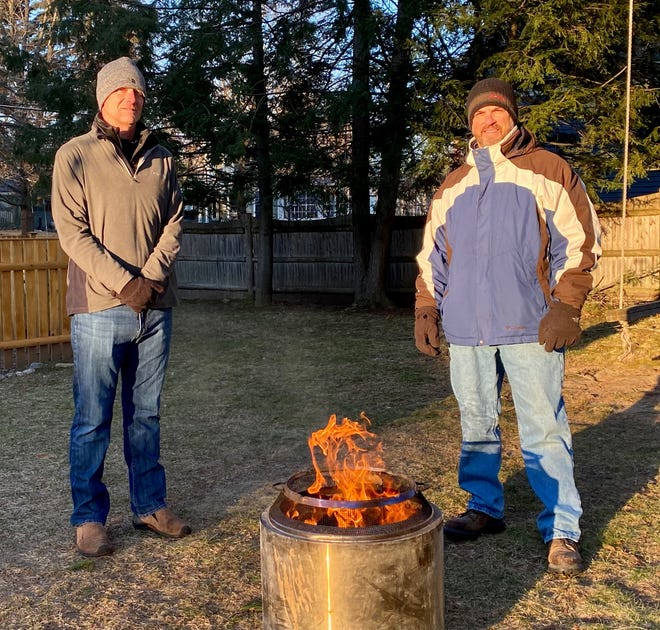 Westborough residents Scott Henderson (left) and John Bogaert will spend Feb. 27, and that night, in the cold in front of Colonial Plaza at 45 East Main St., Westborough, to raise funds for, and awareness of, the homeless population.