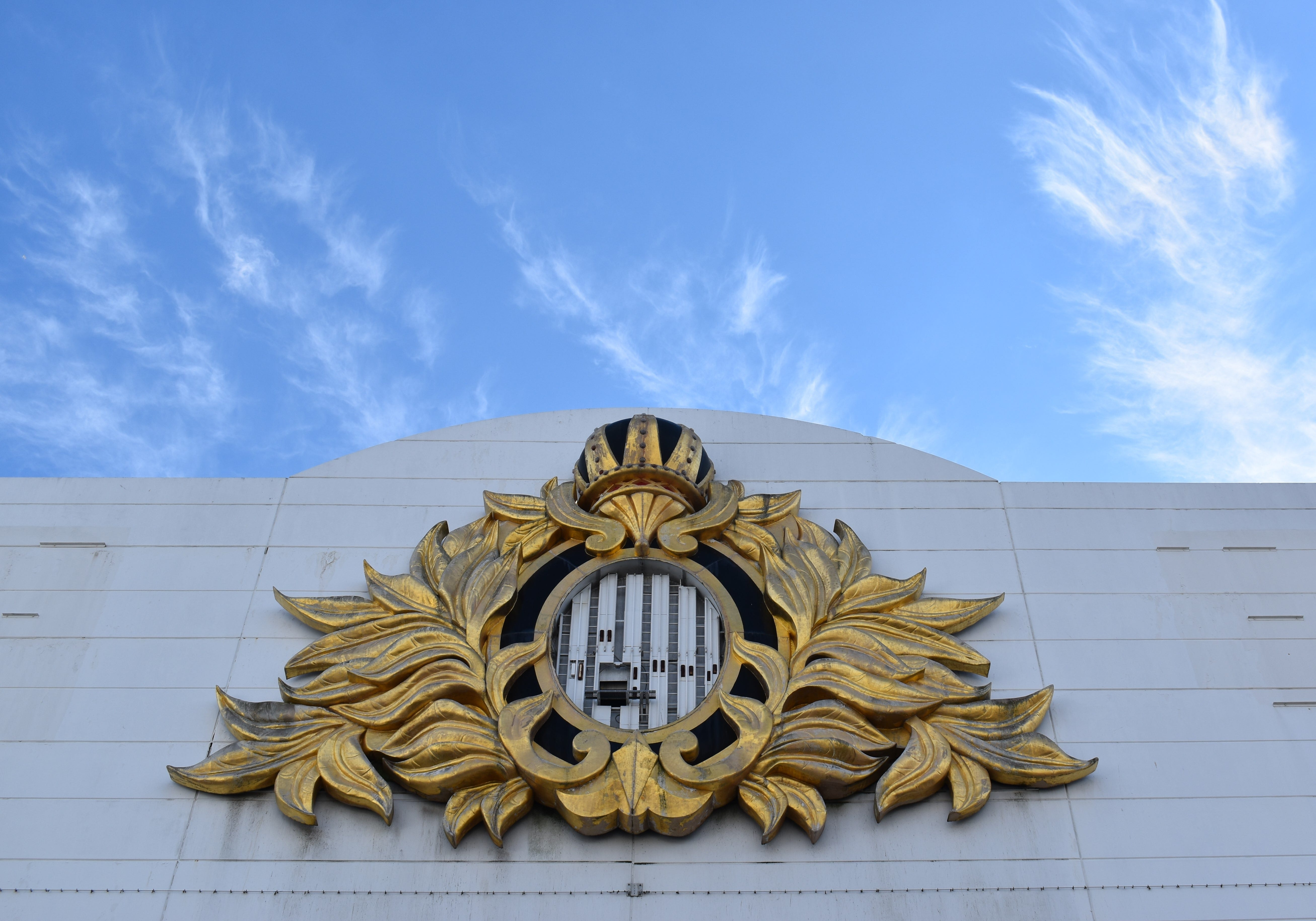 The remnants of a Trump Plaza logo appear on a wall at the Trump Plaza in Atlantic City.