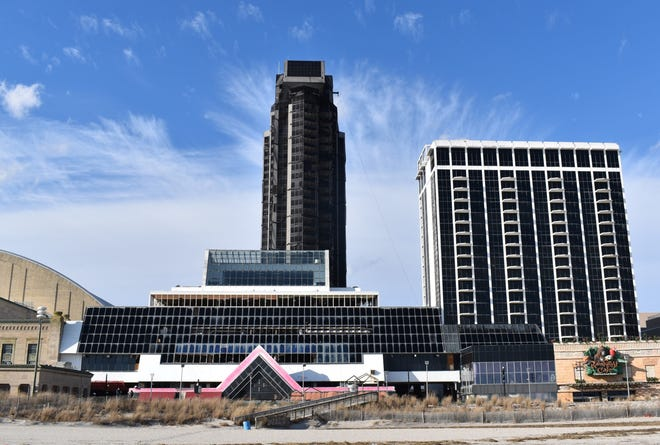 An implosion is planned for Feb. 17 to bring down a 34-story hotel tower as part of the demolition of the Trump Plaza complex in Atlantic City.