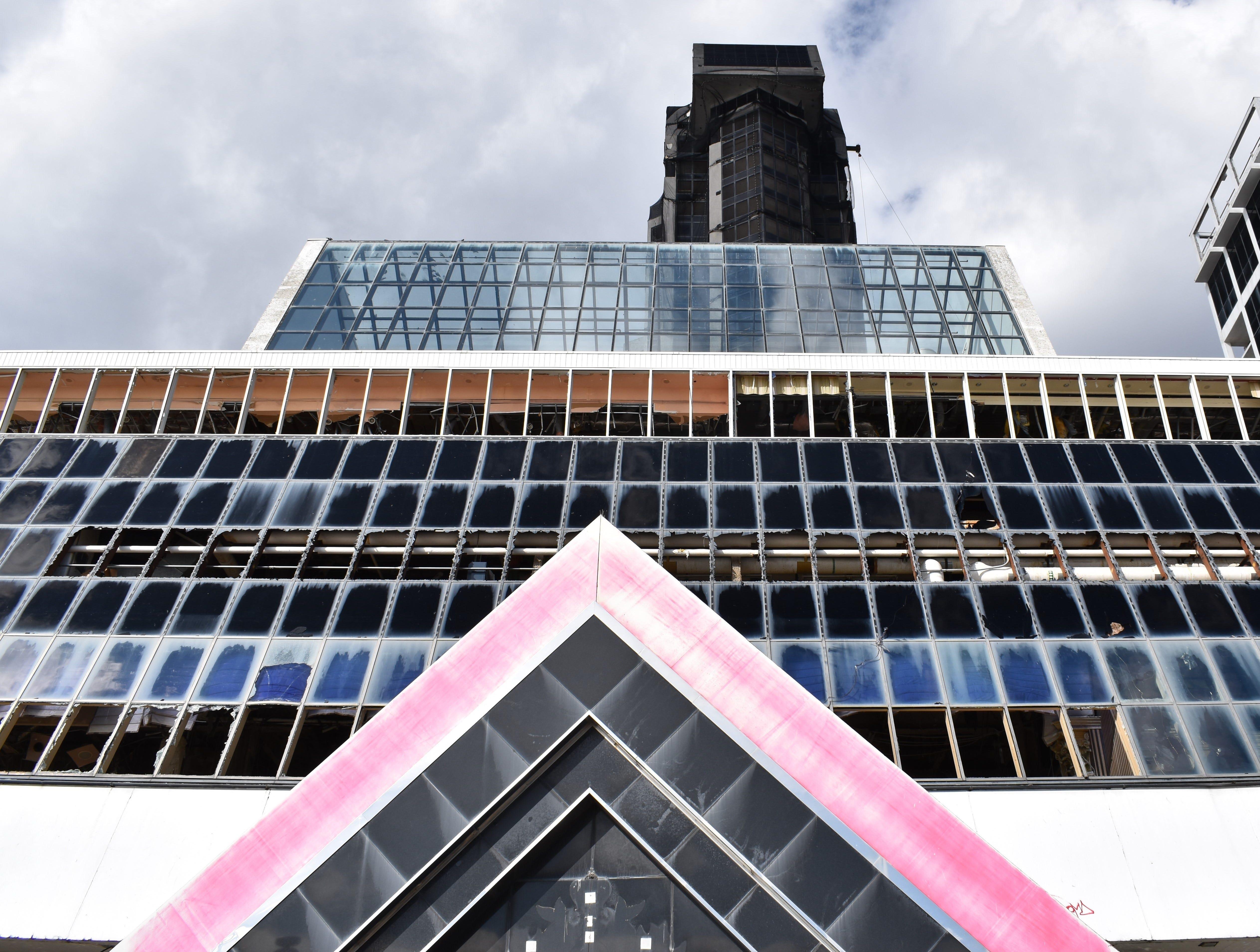 The former Trump Plaza casino-hotel in Atlantic City is awaiting demolition.