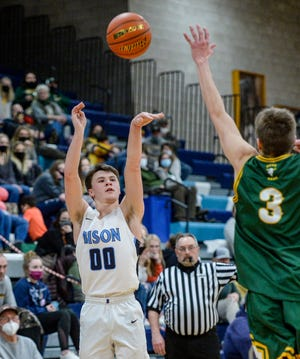 Great Falls High's Levi Torgerson shoots from the outside in Tuesday's crosstown basketball game against CMR.