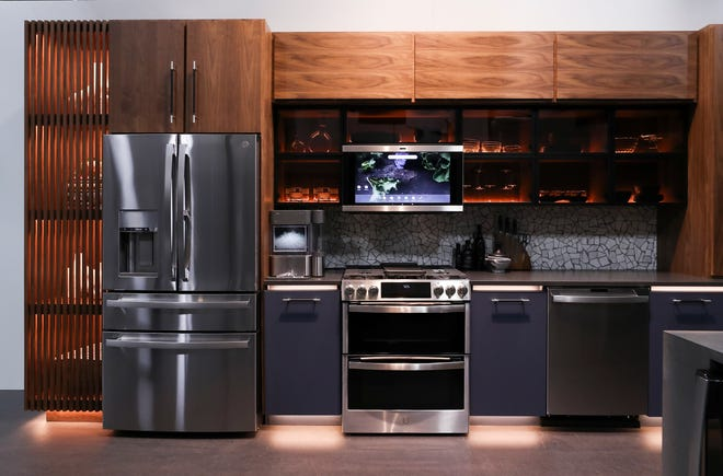 GE Profile kitchen with stainless steel finish appliances in Louisville, Ky. on Feb. 8, 2021.