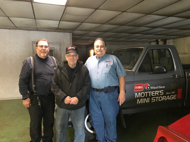 Brothers Louie Motter, left, and Kenny Motter, are retiring after being in business since 1961 as mechanics at Motters, 1418 Ashland Road. At right is Johnny Matthes, who has purchased the property and will operate Johnny's Lock 'Em Up at the site along with opening a classic car mini museum.