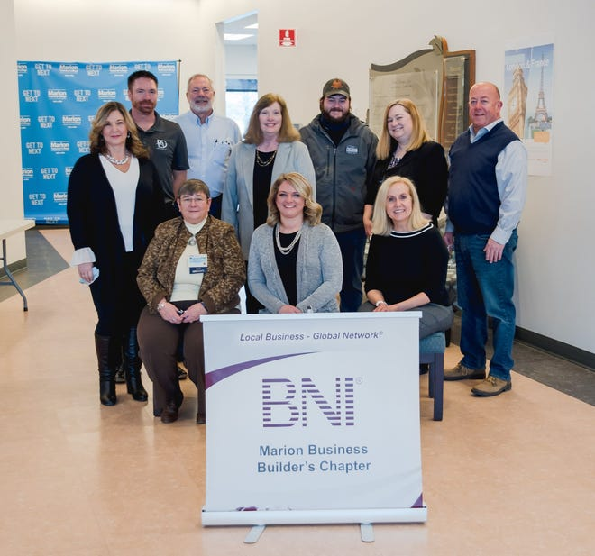 Members of the Marion Business Builders local chapter of BNI tout the value of relationships. Pictured from left to right: (Front row) Jill Chitwood, Leiha Lamb, Robin Schelb. (Second row) Lisa Bush, Scott Ebert, Kreig Hitz, Jean Obenour, Logan Welch, Wendy Weichenthal, Marty Stansbery.