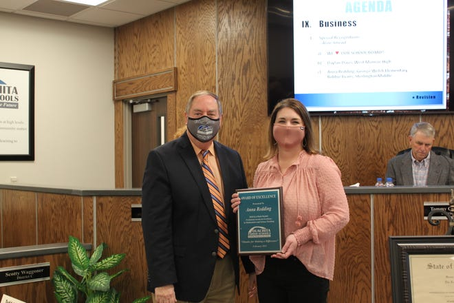 Anna Reddingteaches mathat George Welch Elementary. On Tuesday, Ouachita Parish Schools Superintendent Don Coker presented her with a plaque for being a finalist for the prestigious Presidential Award for Excellence in Mathematics and Science Teaching.