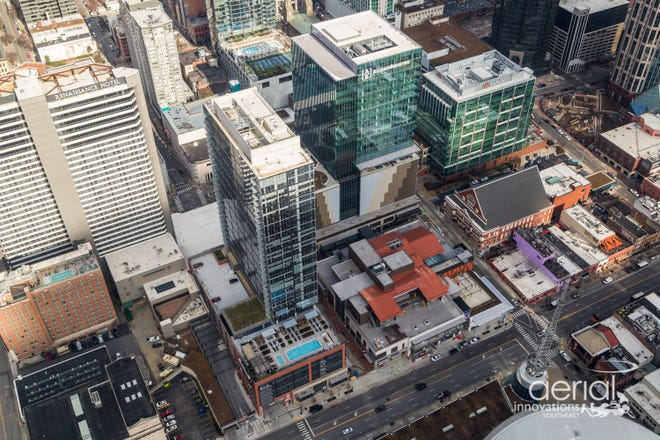 Aerial image of the 6-acre Fifth + Broadway development.