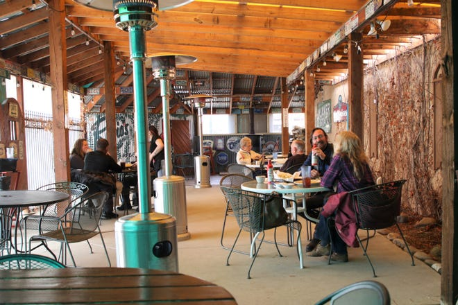 Still waiting for state dining restrictions to ease up more, Rubia's, seen here on Wednesday, Feb. 10, 2021, in Aztec, added propane heaters and wood-burning fireplaces to its outdoor dining area so that customers can withstand what's left of the winter season.