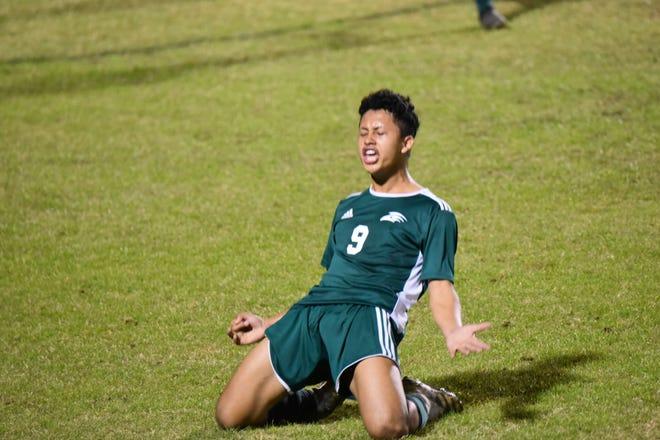 South Walton junior star Ronaldo Puentes celebrates his third goal Tuesday night in District 1-3A final win against Pensacola Catholic.