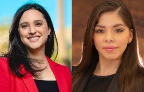 Those living in District 7 have a choice in the March 9 election between two candidates: (L-R) Yassamin Ansari and Cinthia Estela.