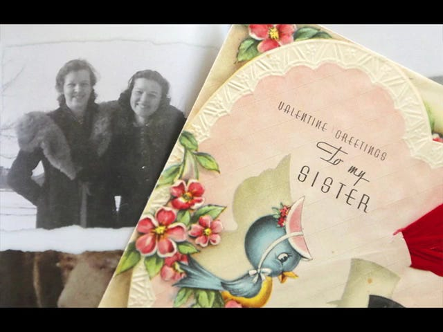 Cousins Judy Neisch and Sandy Mettille continue their mothers' tradition, begun in 1941, of exchanging the same Valentine's Day card with each other.