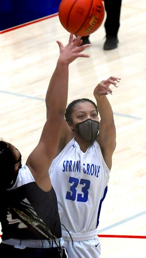 Dallastown's Bria Beverly, seen here in a file photo, had 16 points on Saturday in a win against York High.