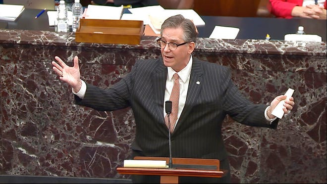 In this image from video, Bruce Castor, an attorney for former President Donald Trump, speaks during the second impeachment trial of Trump in the Senate at the U.S. Capitol in Washington, Tuesday, Feb. 9, 2021. (Senate Television via AP)