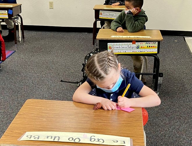 Students work in a Washoe County School District classroom.