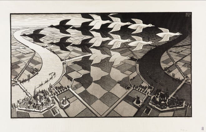 """Day and Night"" by M.C. Escher © The M.C. Escher Company B.V.- Baarn – the Netherlands. ""M.C. Escher: Journey to Infinity"" is showing at the Tallahassee Film Society's Virtual Cinema."