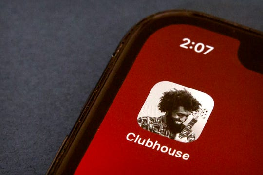 The icon for the social media app Clubhouse will be seen on a smartphone screen in Beijing on February 9, 2021.