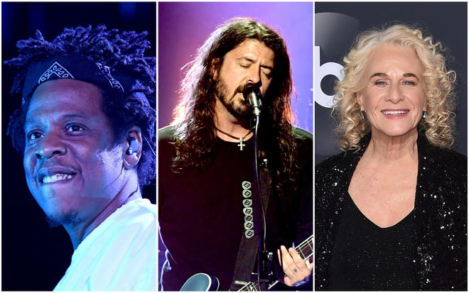 Jay-Z, Dave Grohl of Foo Fighters and Carole King, all 2021 Rock and Roll Hall of Fame nominees.
