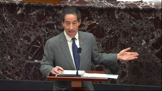 Lead Democratic House impeachment manager Rep. Jamie Raskin, D-Md., speaks during the second impeachment trial of former President Donald Trump on Wednesday.