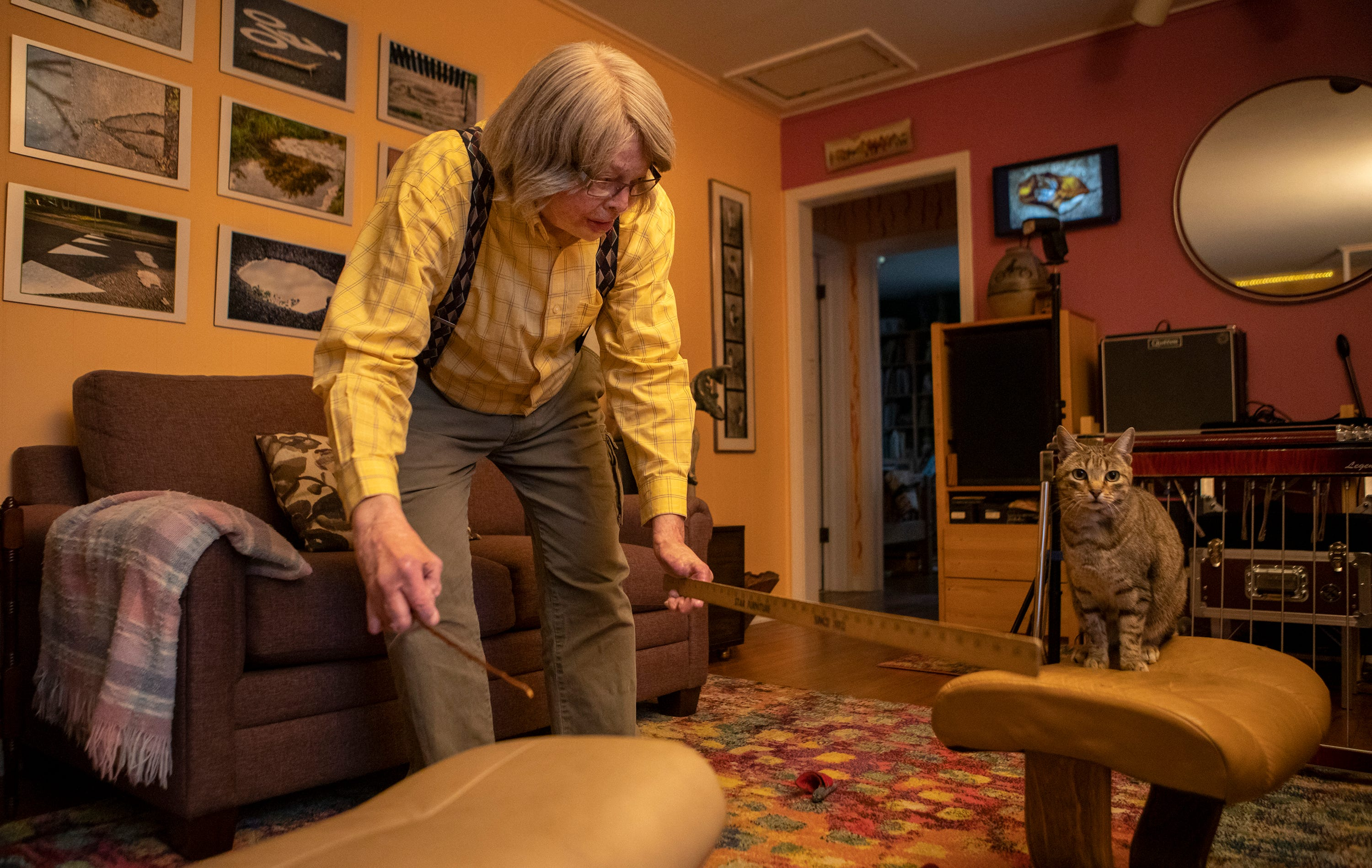 """Al Evans, 75, demonstrates how his cat can jump over a ruler on Feb. 11, 2021.  The photographs hanging on the wall are from walks he and his wife take every morning. The photographs he takes are to """"show the beauty that lies all around us."""""""