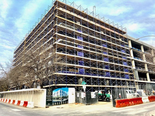 The 701 Rio office project under construction on downtown Austin's west side.
