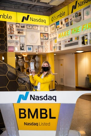 Bumble founder and CEO Whitney Wolfe Herd rang the opening bell at the Nasdaq exchange last week as her company made its debut on Wall Street.
