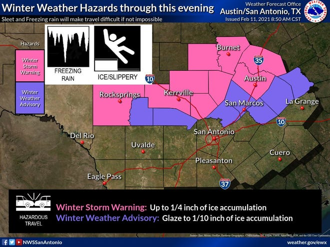Bastrop County is under a winter weather advisory as freezing rain is possible Thursday.