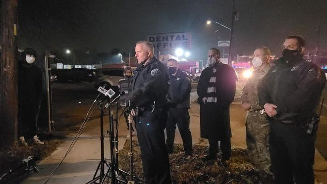 Austin Police Chief Brian Manley addresses the media on Wednesday night after police killed a suspect during a hostage situation on Rogge Lane.