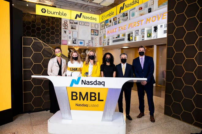Bumble founder CEO and founder Whitney joined with her team to celebrate the company going public in February. Bumble raised more than $2 billion with its initial public offering of stock, the largest Wall Street debut ever for an Austin company.