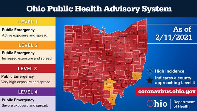 The Ohio Public Health Advisory System color map for Thursday, Feb. 11, 2021.