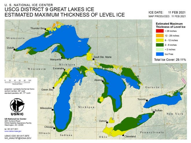 Much of Lake Erie is now ice covered, decreasing the likelihood of lake-effect snow.