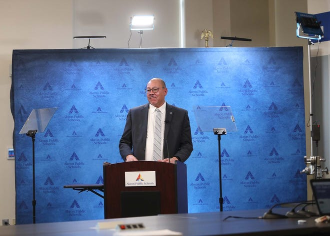 David James, the superintendent of the Akron Public Schools, livestreams his State of the Schools address Thursday at the APS Administration. This is his last address because he is retiring.