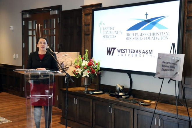 Dr. Holly Jeffreys, head of the WTAMU Department of Nursing, talks about the vision for the nursing program during the announcement of a $3 million gift from the Baptist Community Services and High Plains Christian Foundation to the WTAMU nursing program.