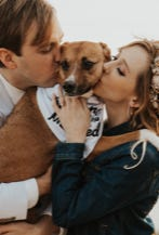 Jacob Frank, left, and Halley Taylor Frank had their pup as an attendant in their small California wedding in March 2020.