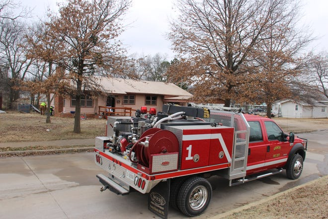 Ardmore firefighters respond to a house fire on G Street Southeast Thursday morning. One fatality was reported.