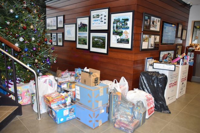The final tally of items collected in the North Penn Water Authority's lobby for the 21st annual Toys for Tots by U.S. Marine Corps were 430 toys, 30 books and $200 donated to purchase additional items.