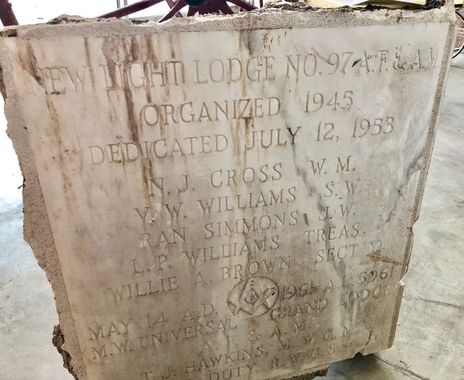 Masonic cornerstone from the New Light Lodge which is housed at the museum. It lists Cross.