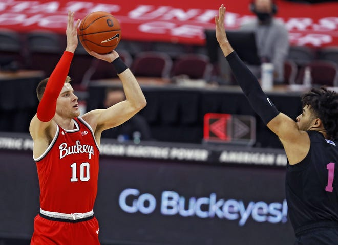 Not since Jon Diebler played for Ohio State from 2007-11 have the Buckeyes had such a competent, and confident, outside shooter as Justin Ahrens (10). The junior is shooting 47.9% from three-point range this season.