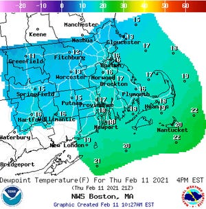 Dewpoint temperatures around the region on Thursday, Feb. 11.