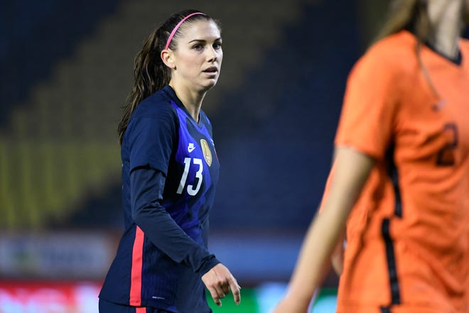 United States' Alex Morgan reacts during the international friendly women's soccer match against The Netherlands at Rat Verlegh stadium in Breda, southern Netherlands in November. Morgan is back with the U.S. national team and learning to adjust to a career as a working mom.
