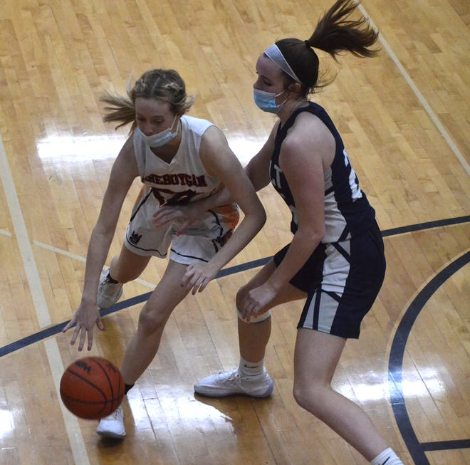 Cheboygan junior guard CJ Salter (left) looks to get past Sault Ste. Marie's Claire Erickson during the second half of a varsity girls basketball matchup in Cheboygan on Wednesday.