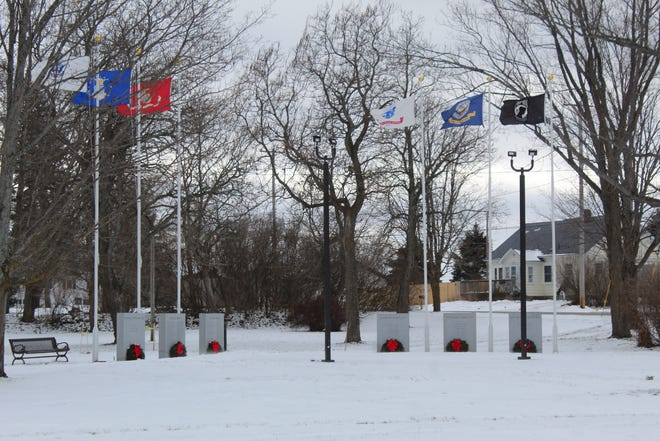 Six wreaths have been placed in front of the tablets at Veterans Memorial Park in the City of Cheboygan, to honor and remember those who paid the ultimate sacrifice in defense of our country.
