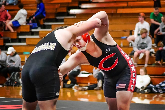 Luke Reynolds, 2020-21 Chillicothe High School wrestling Hornets sophomore, tries to find an advantage against a Savannah opponent in a home dual match Jan. 21. Reynolds, who eventually won the bout by pin, is expected to be CHS' 195-pounds entrant in Saturday's (Feb. 13) Class 2 District 7 Tournament at the Chillicothe Middle School fieldhouse.