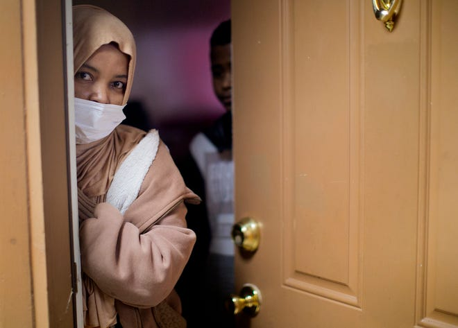 Alyia Omar, 34, a single mom and refugee from Yemen, has not yet received notice that she has to leave her apartment at Whispering Oaks but worries about what she will do when the time comes.