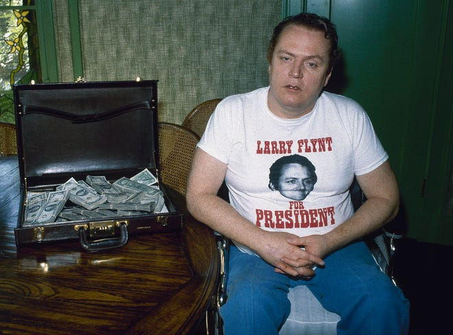 Larry Flynt, the publisher of Hustler magazine, seen in 1983 in Los Angeles, had a local presence in Columbus due to his Hustler Club and publishing offices.